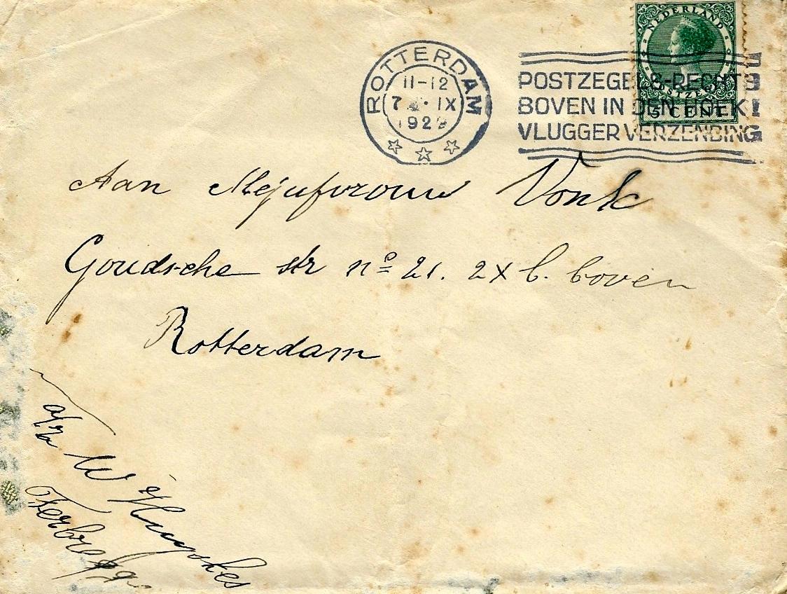 Envelop bij brief Huijskes aan Vrouw Vonk