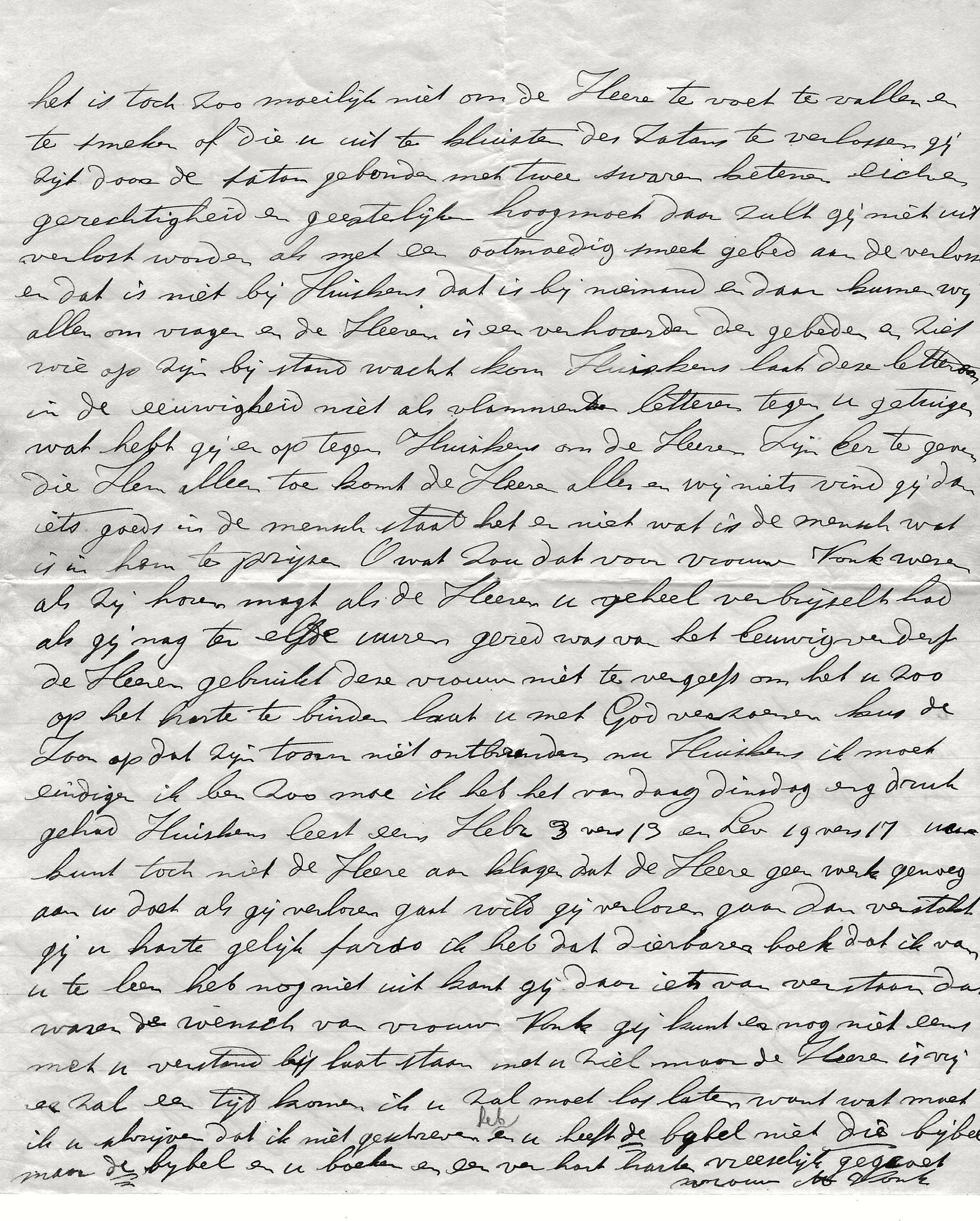 Fragment brief Vrouw Vonk aan Willem Huijskes d.d. 12-1-1928