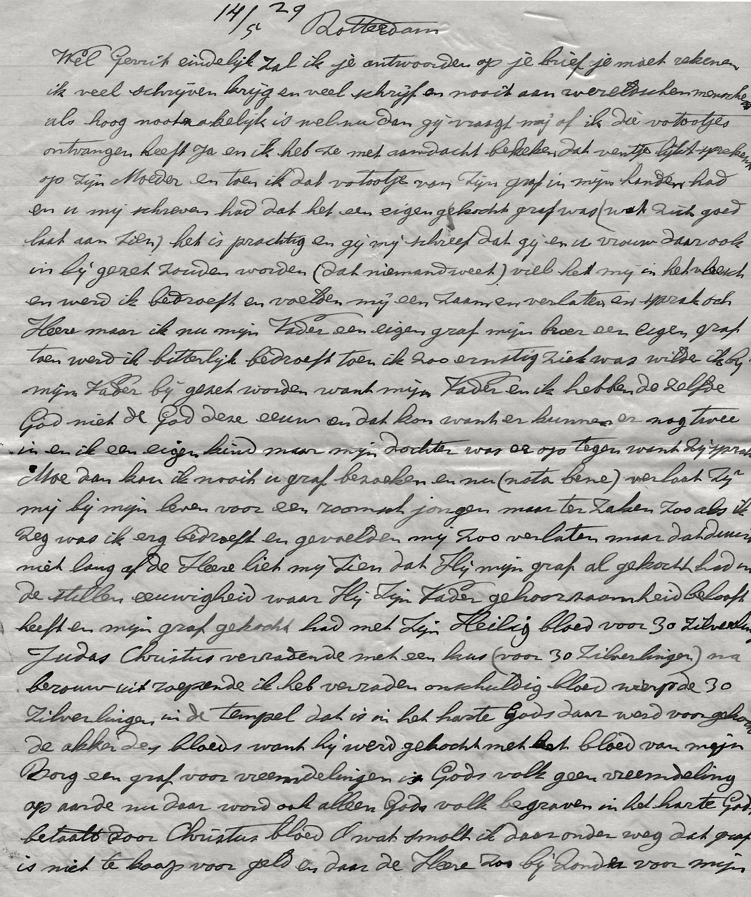 Fragment brief Vrouw Vonk aan broer Gerrit d.d. 14-5-1929
