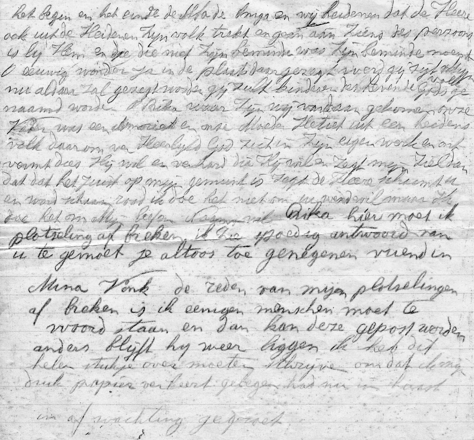In haast geschreven laatste gedeelte brief van Vrouw Vonk aan vriendin Rika d.d. 29-9-1929
