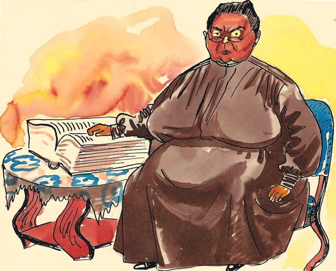 Karikatuur Vrouw Vonk door Adriaan van Boven, 29-10-1947