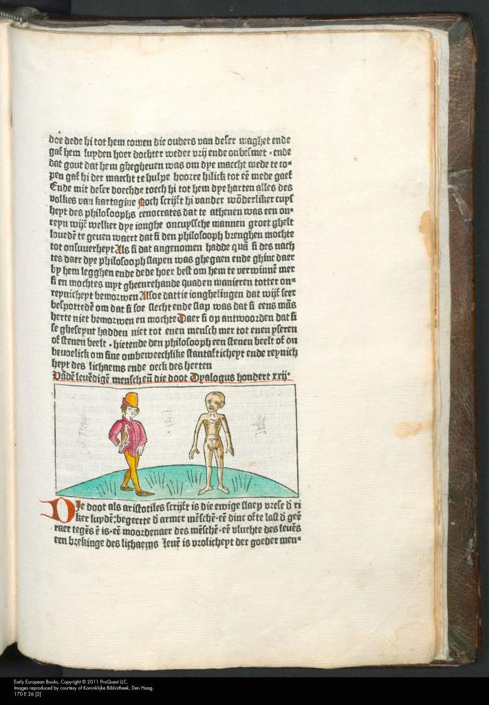 Pagina uit Twispraec der creaturen (1481) met het begin van dialoog 122 over de mens en de dood (Koninklijke Bibliotheek, Den Haag)