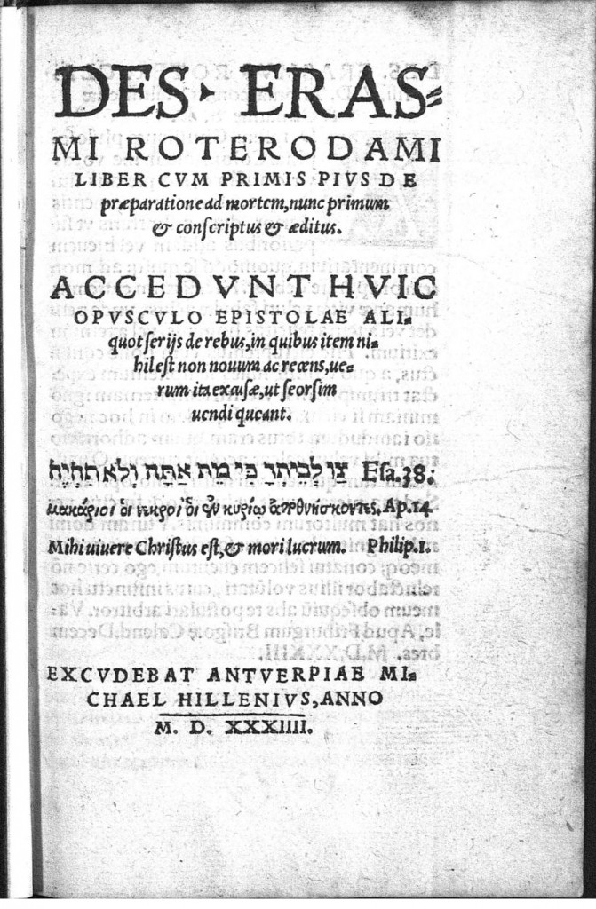 Titelpagina van de Latijnse uitgave (Antwerpen 1534) http://www.erasmus.org/index.cfm?fuseaction=eol.getdetail&field1=id&value1=3144 (21-2-2016)