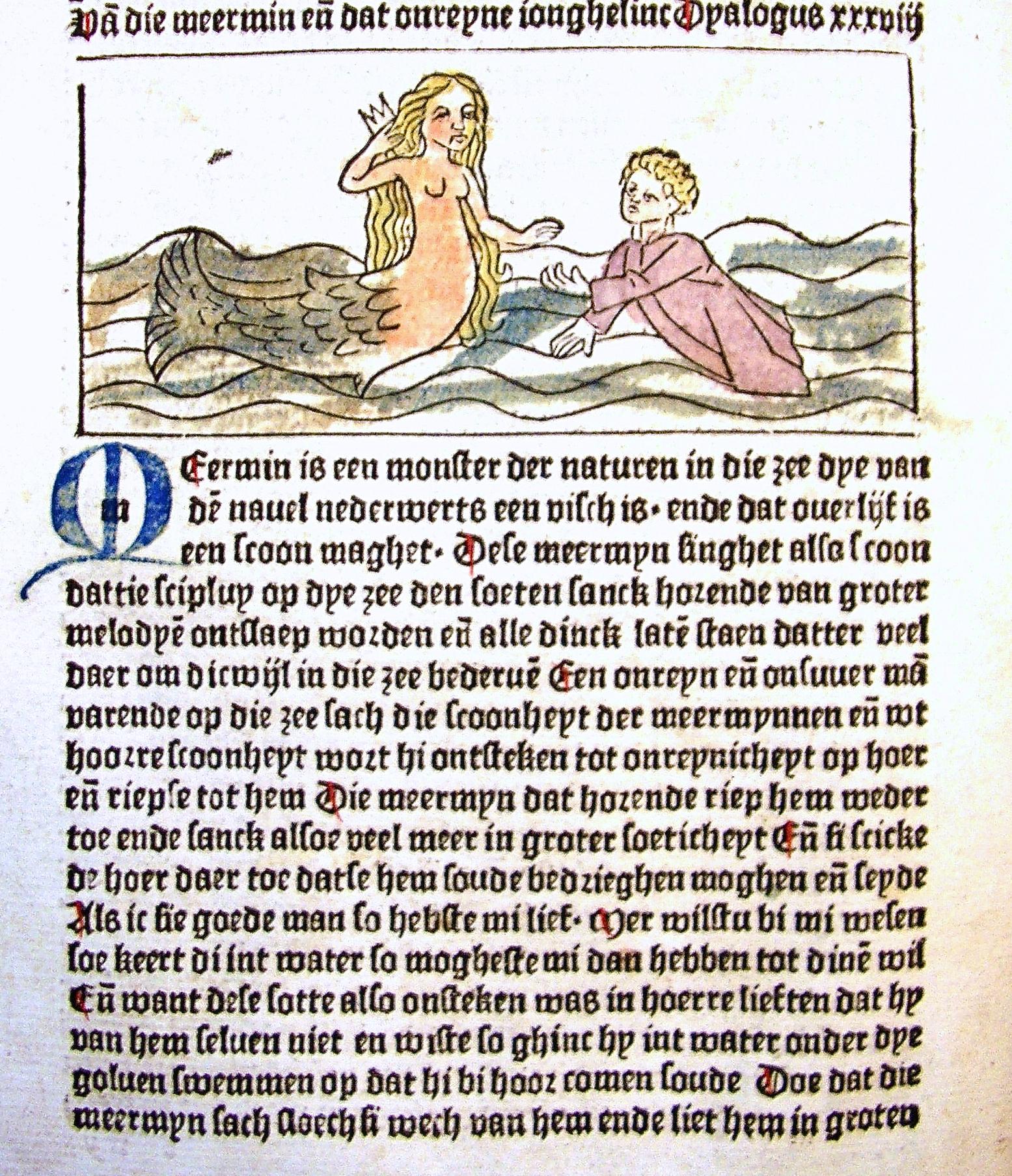 38ste dialoog over de zeemeermin en de wellustige jongeling. Bron: Streekarchief Midden-Holland te Gouda, signatuur depot 2306 E3