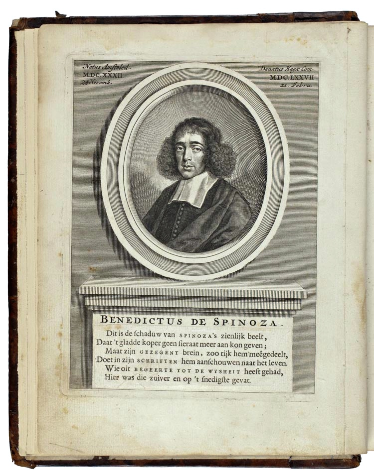 Portret van Spinoza in De nagelaten geschriften (Amsterdam 1677)